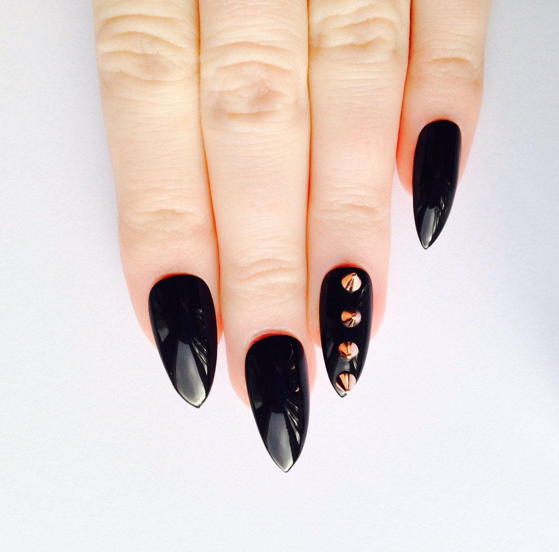 rose gold stiletto nails photo - 1