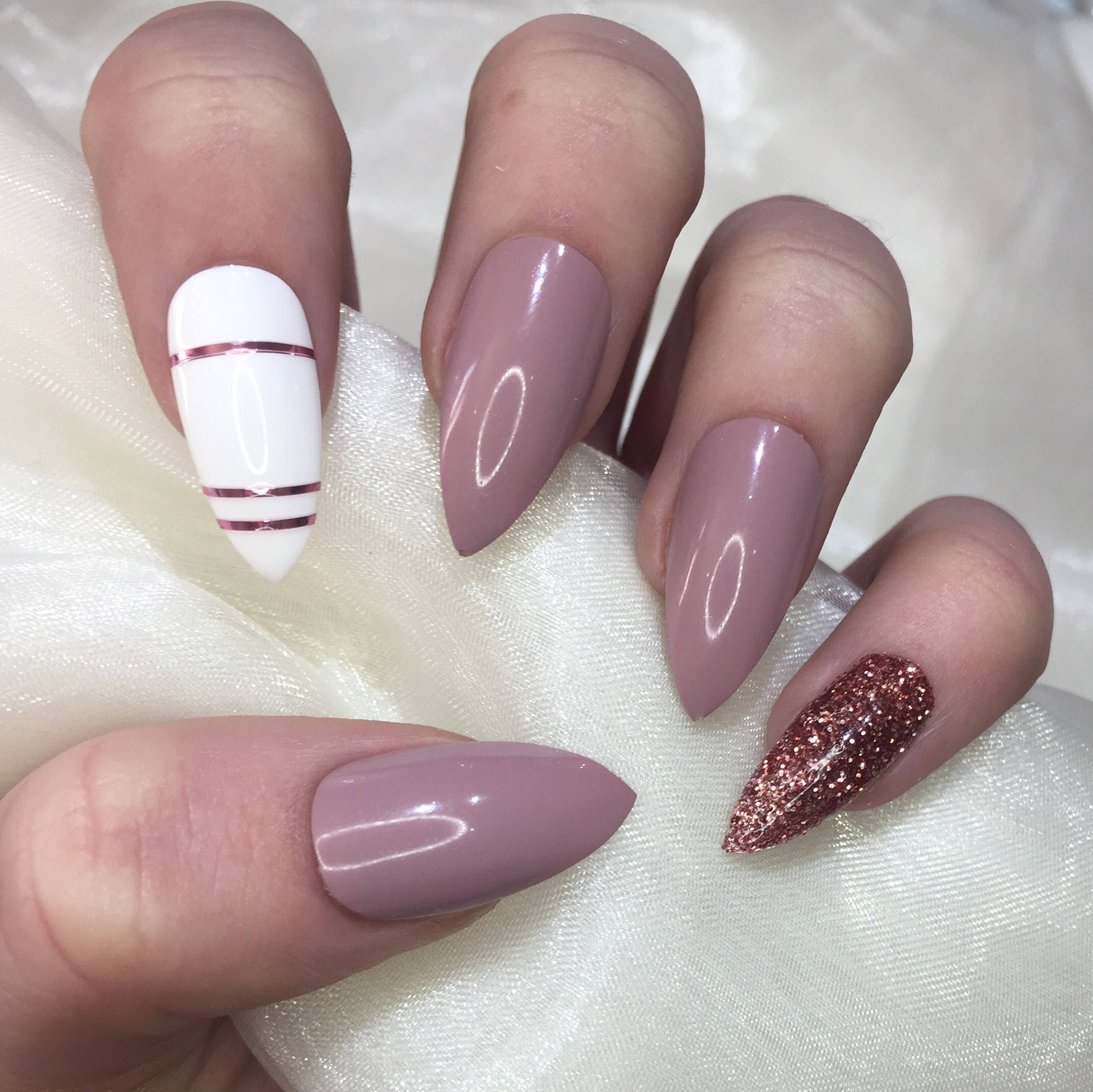 rose gold stiletto nails photo - 2
