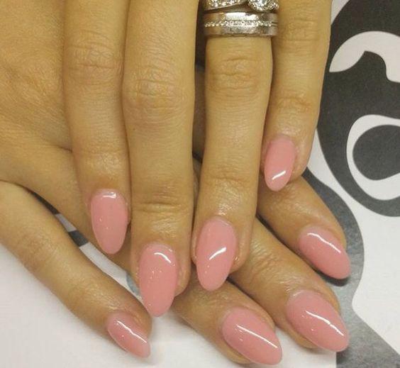round acrylic nails blush photo - 1