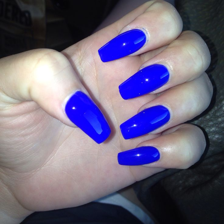 Royal Blue Acrylic Nails Long Coffin New Expression Nails