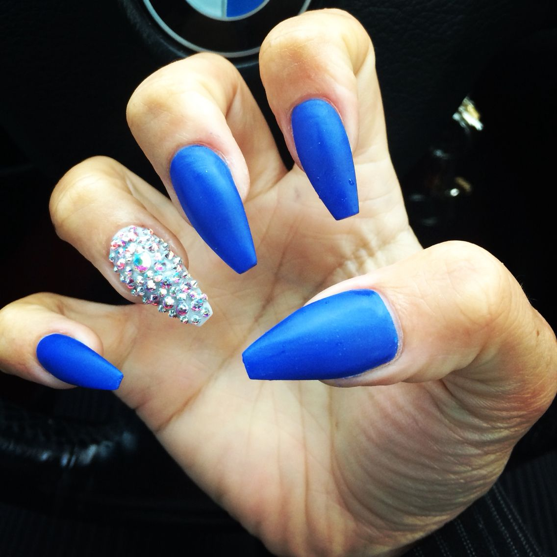 Royal blue matte coffin nails - Expression Nails