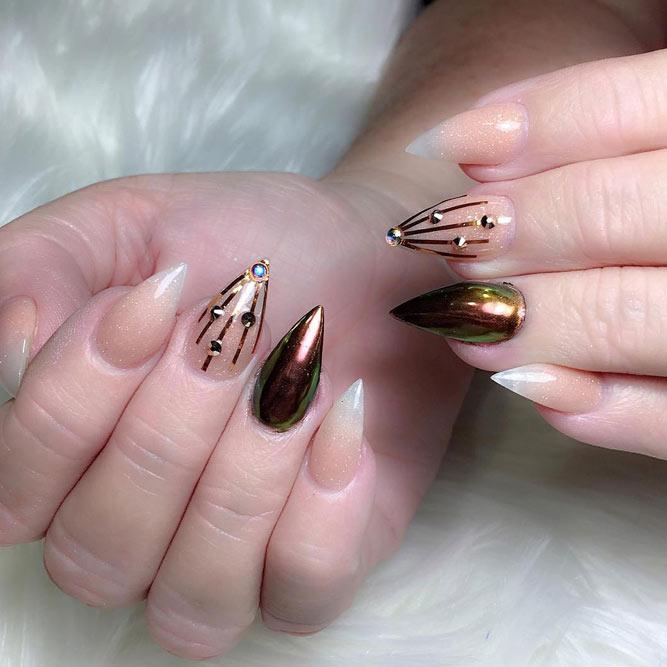 short acrylic stiletto nails photo - 2