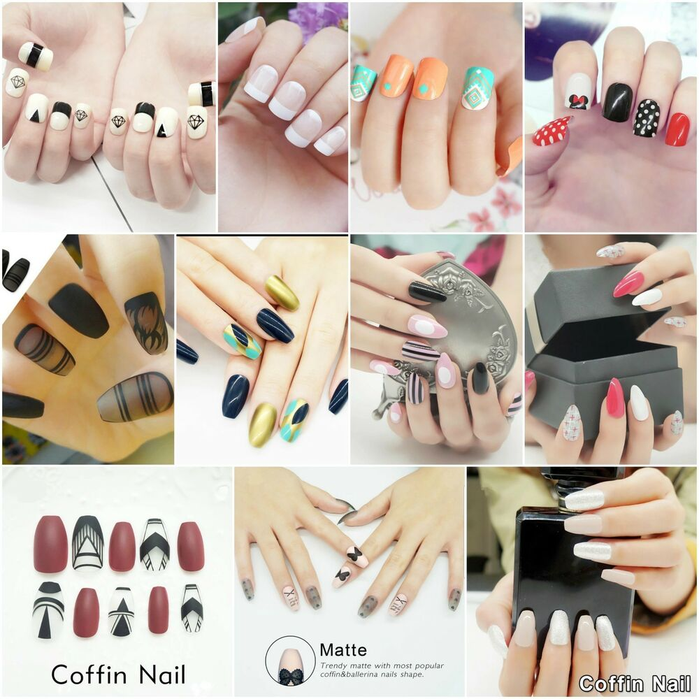 Short coffin nails with one stiletto nail , New Expression Nails