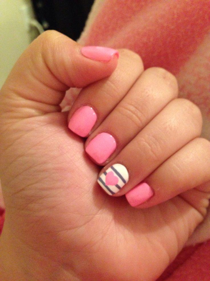 Short gel nails pink , New Expression Nails