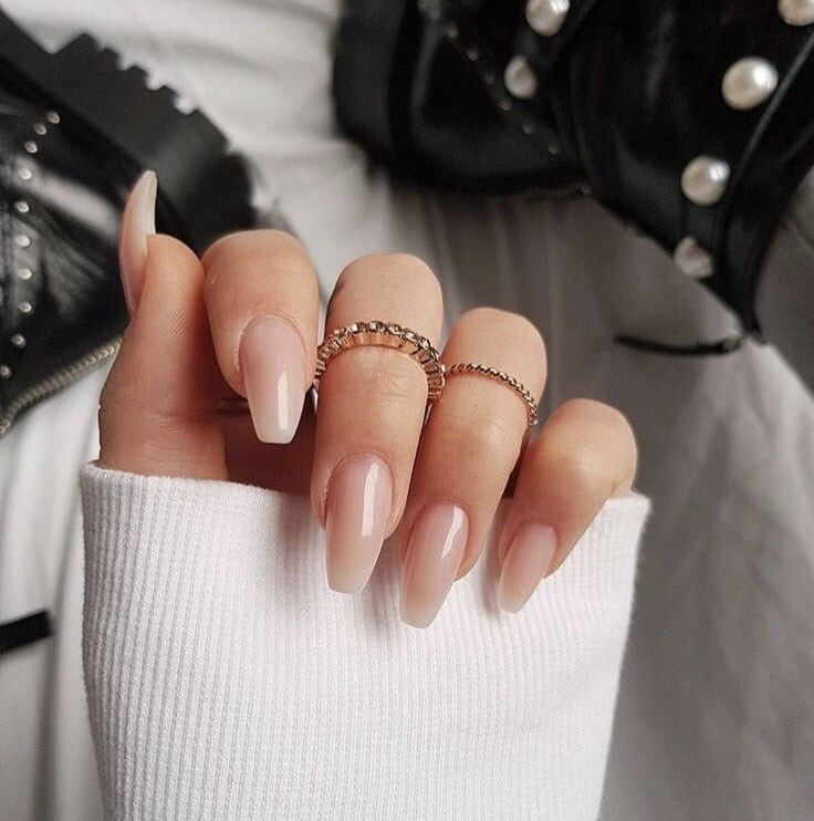 short neutral acrylic nails photo - 2
