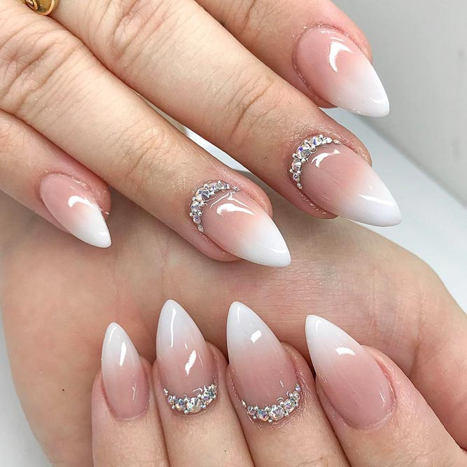 short stiletto nails french tip ombre photo - 1