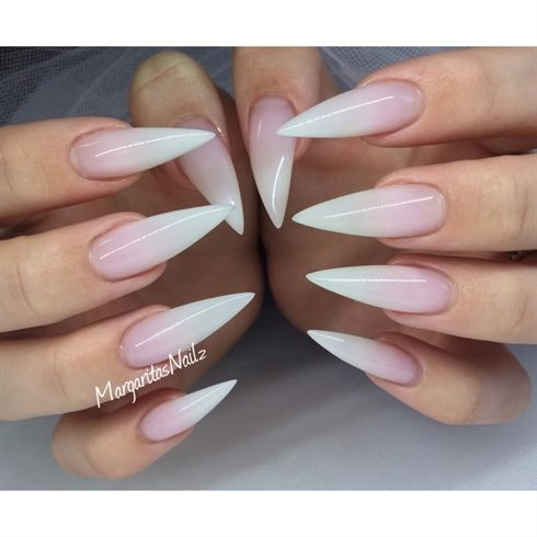 short stiletto nails french tip ombre photo - 2