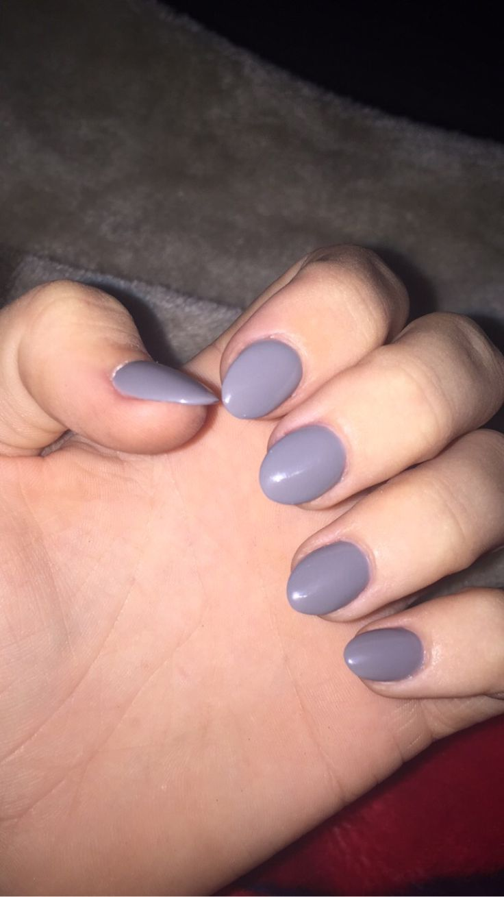 short stiletto nails gray photo - 1