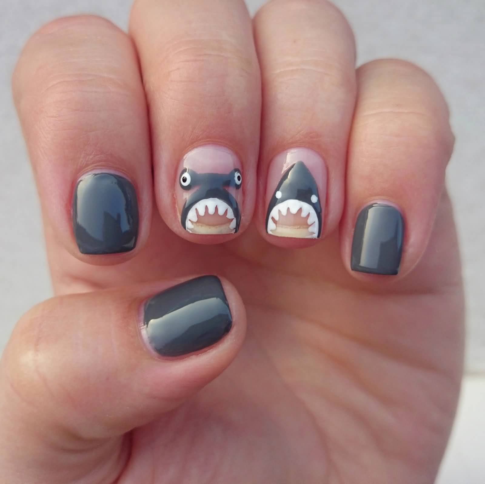short stiletto nails gray photo - 2