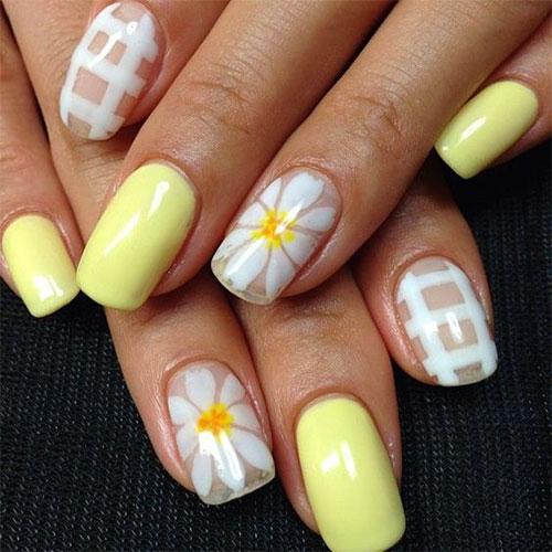 short yellow flower gel nails photo - 1
