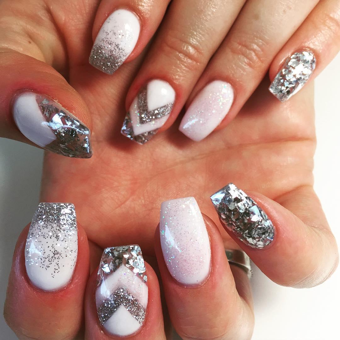 silver acrylic nails photo - 2