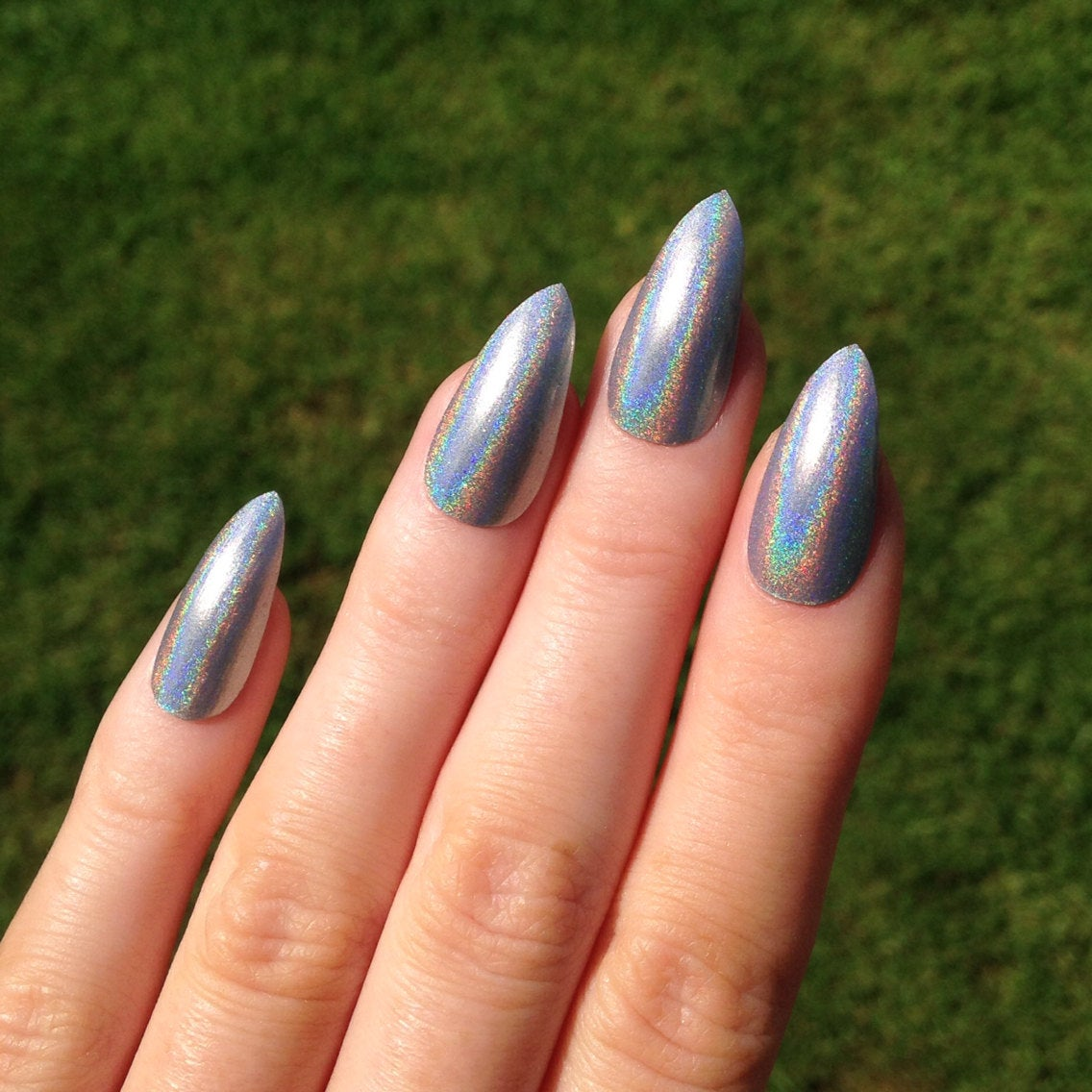 silver stiletto nails photo - 1