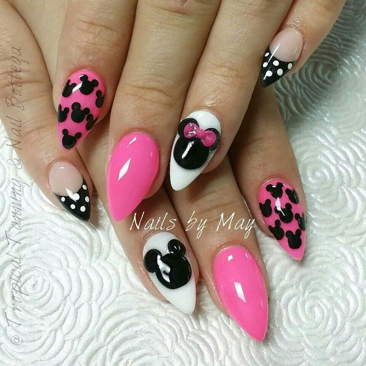 simple mickey mouse stiletto nails photo - 2