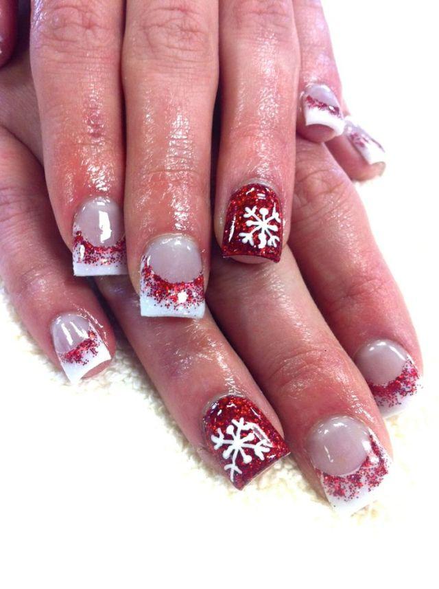 snowflake acrylic nails red photo - 1