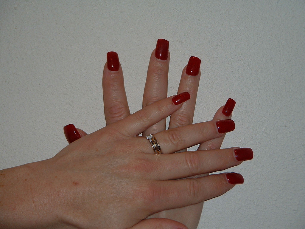 solid colored acrylic nails photo - 2