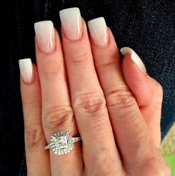 squared oval acrylic nails blue photo - 1