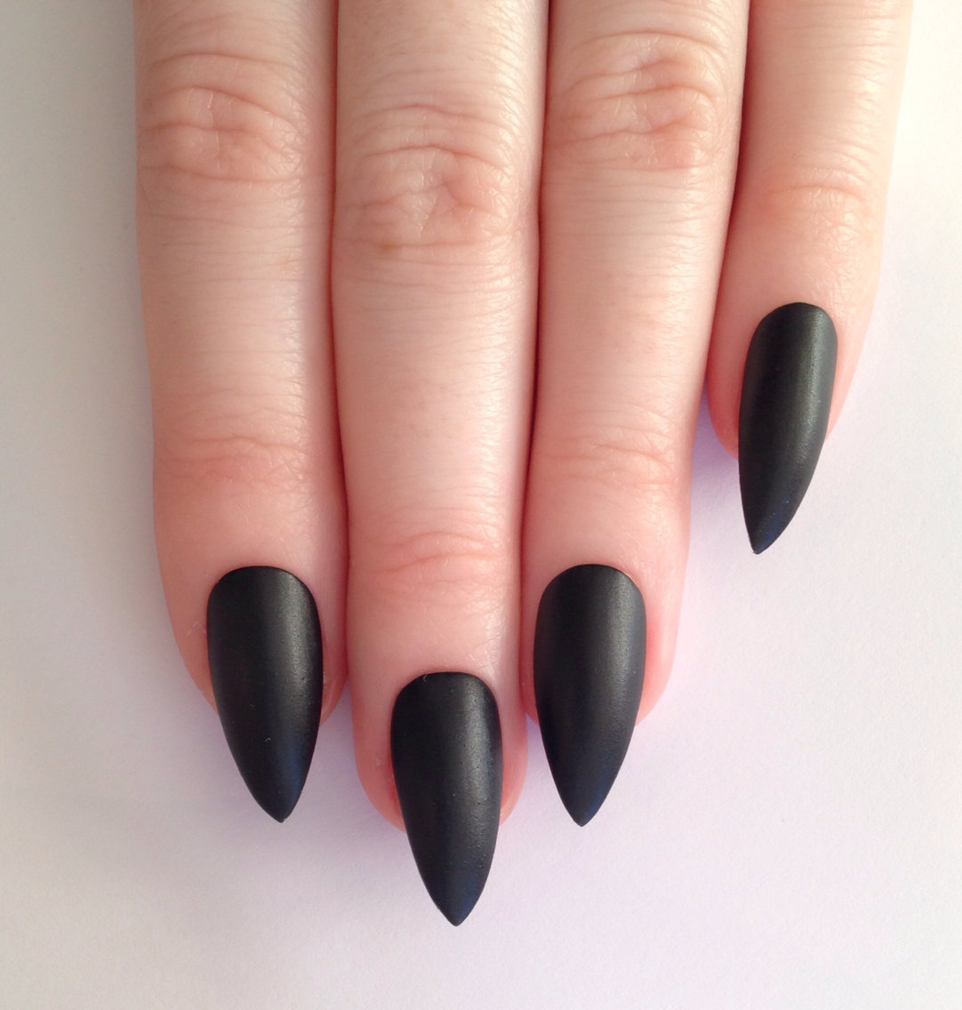 stiletto acrylic nails black photo - 1