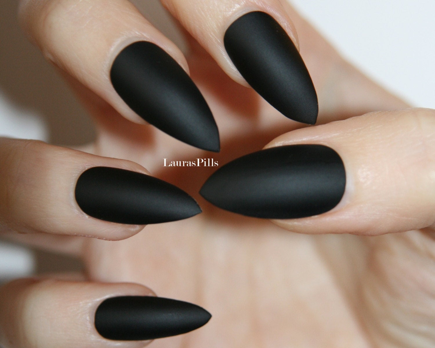 stiletto matte black nails photo - 2