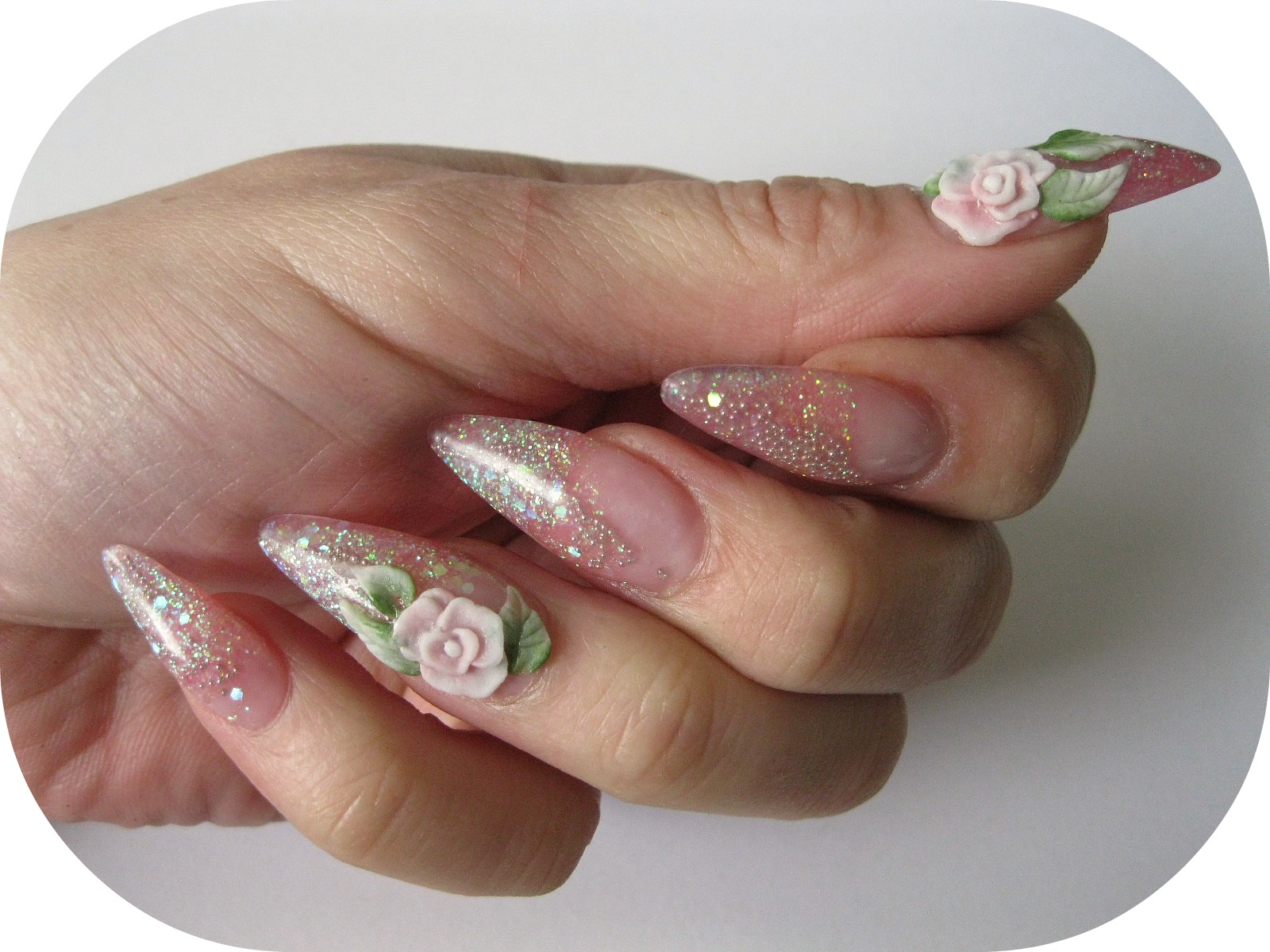 stiletto nails 3d acrylic roses photo - 1