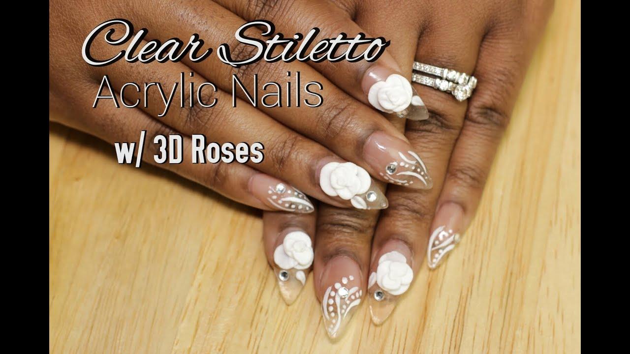 stiletto nails 3d acrylic roses photo - 2