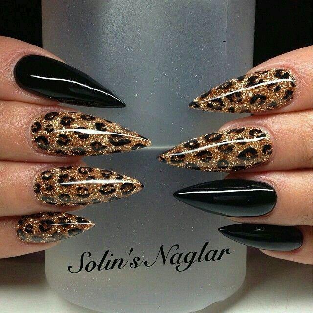 stiletto nails animal print photo - 2