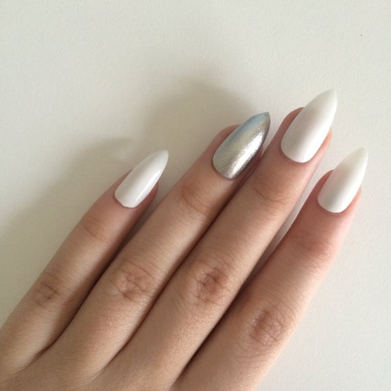 stiletto nails black and silver with accents photo - 1