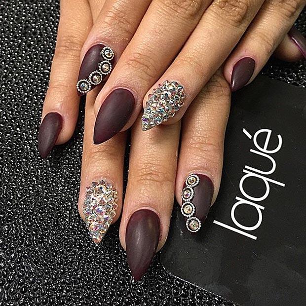 stiletto nails brown and black photo - 1