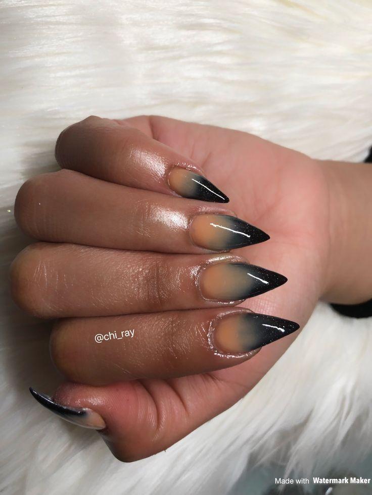 stiletto nails brown and black photo - 2