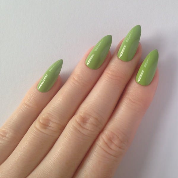 stiletto nails long green photo - 2