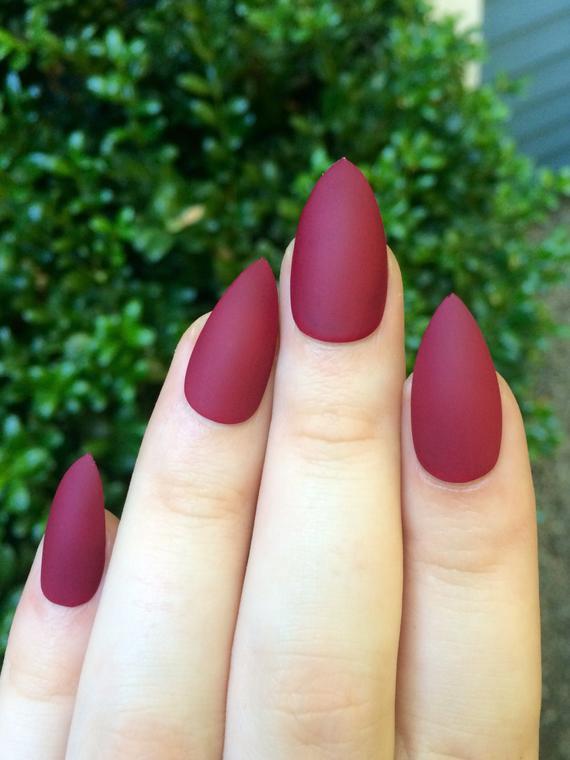 stiletto nails matte maroon photo - 1