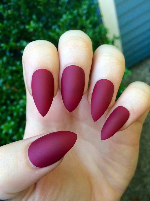 stiletto nails matte maroon photo - 2
