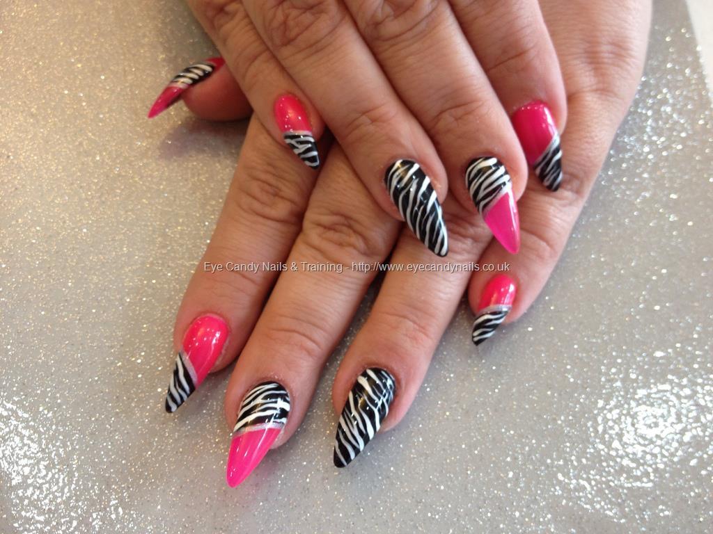stiletto nails pink white and black zebra photo - 1