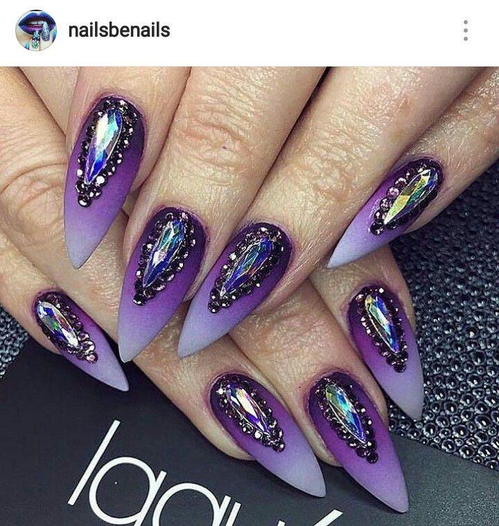 stiletto nails purple photo - 2