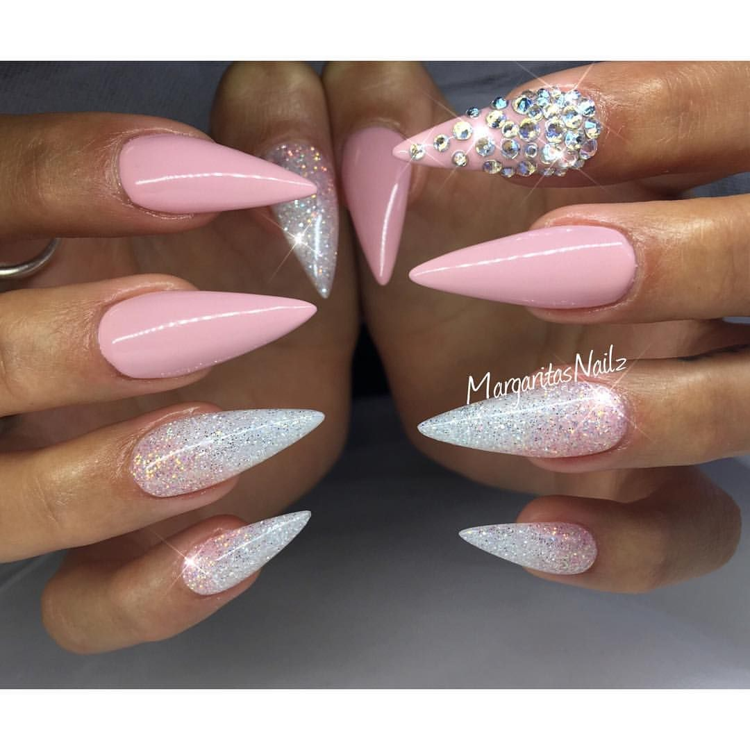 stiletto nails rounded pinkish nude photo - 2