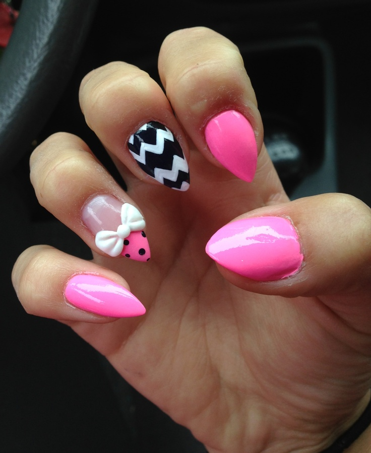 stiletto nails short with bow ties photo - 1