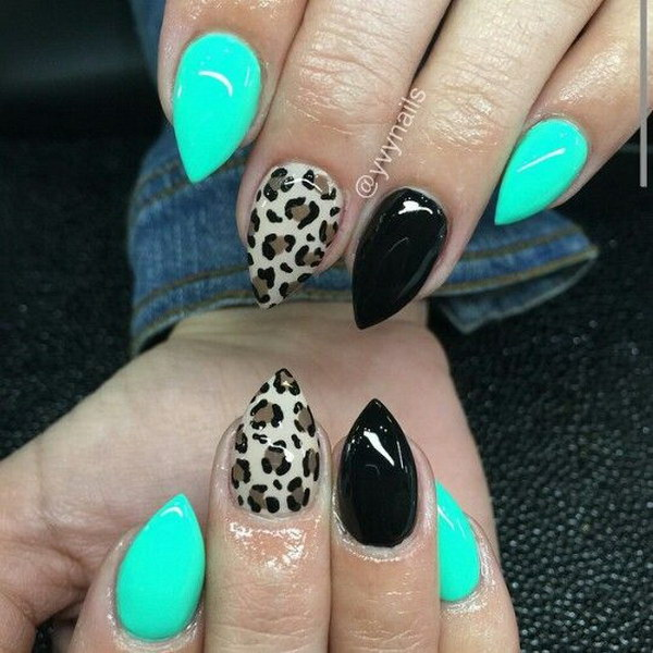 stiletto nails teal and black photo - 1