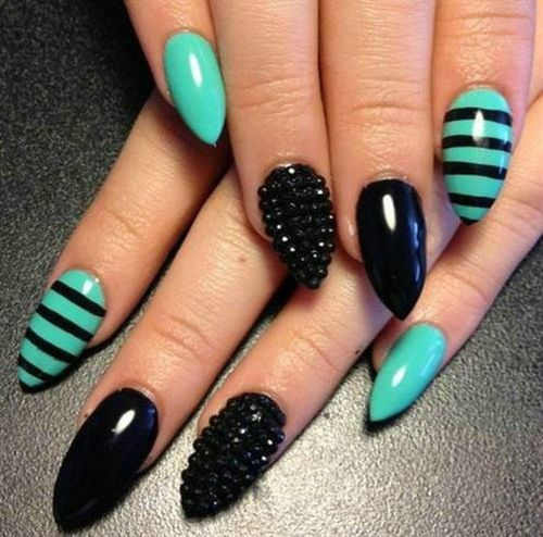 stiletto nails teal and black photo - 2