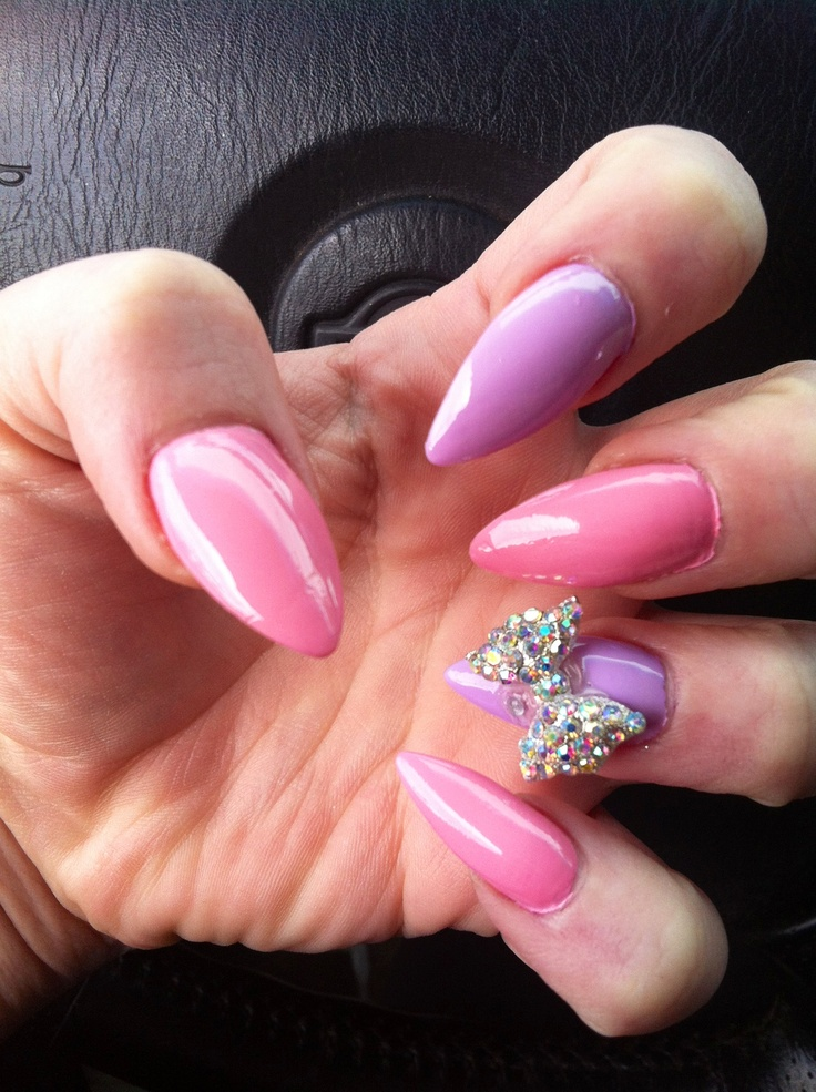 stiletto nails with bows photo - 1