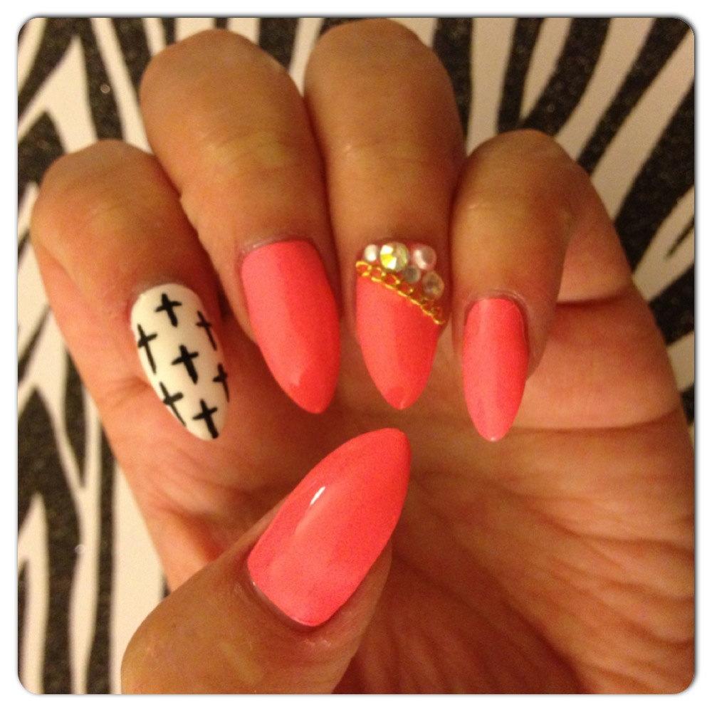stiletto nails with cross design photo - 1