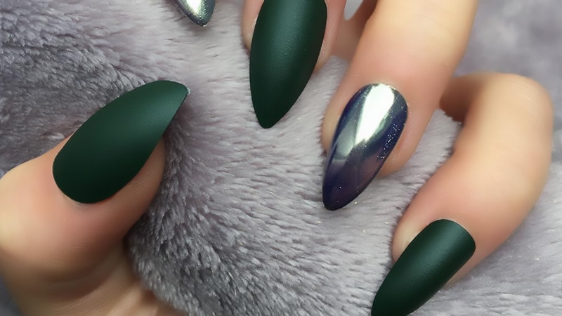 stiletto nails with matte polish accents photo - 1