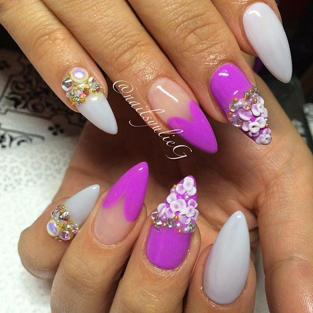 stiletto nails with matte polish accents photo - 2