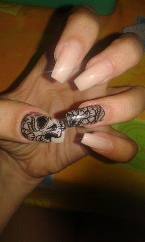 sugar skull stiletto nails photo - 1