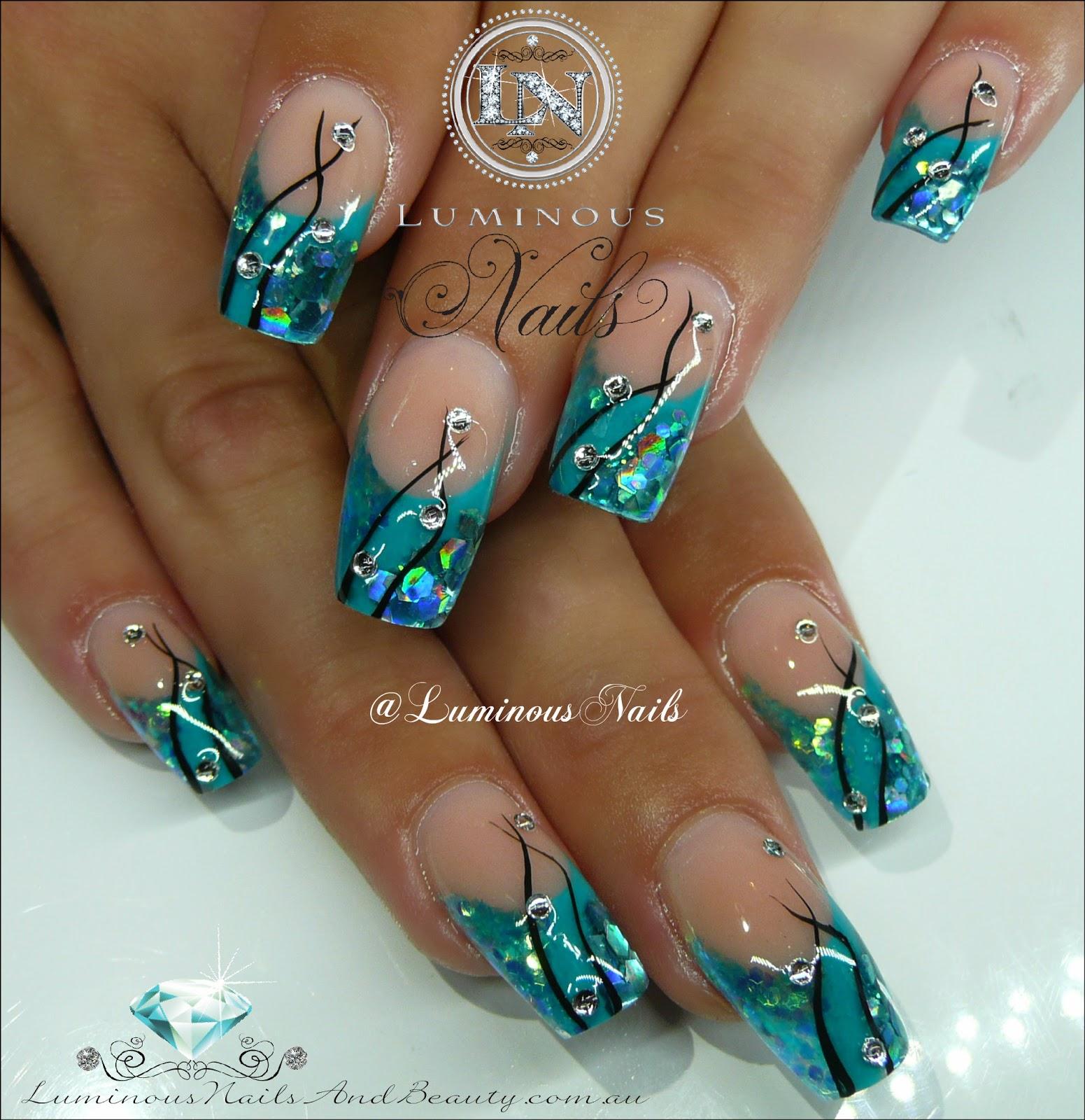 turquoise gel nails photo - 1