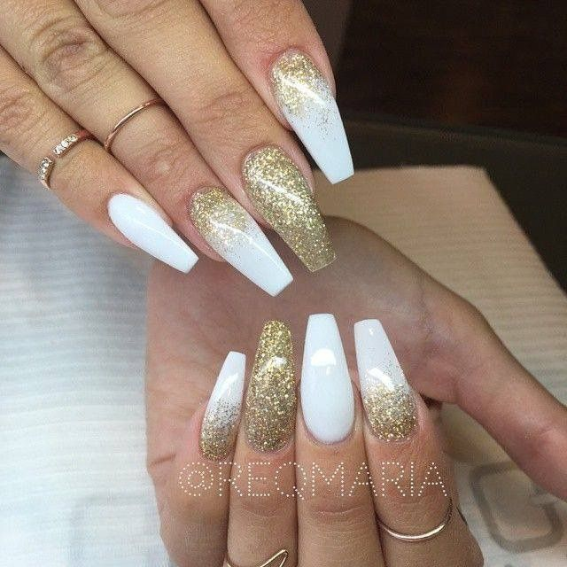 white acrylic nails coffin with glitter photo - 1