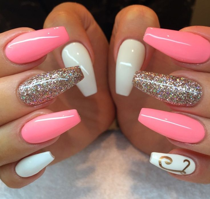 white acrylic nails coffin with glitter photo - 2