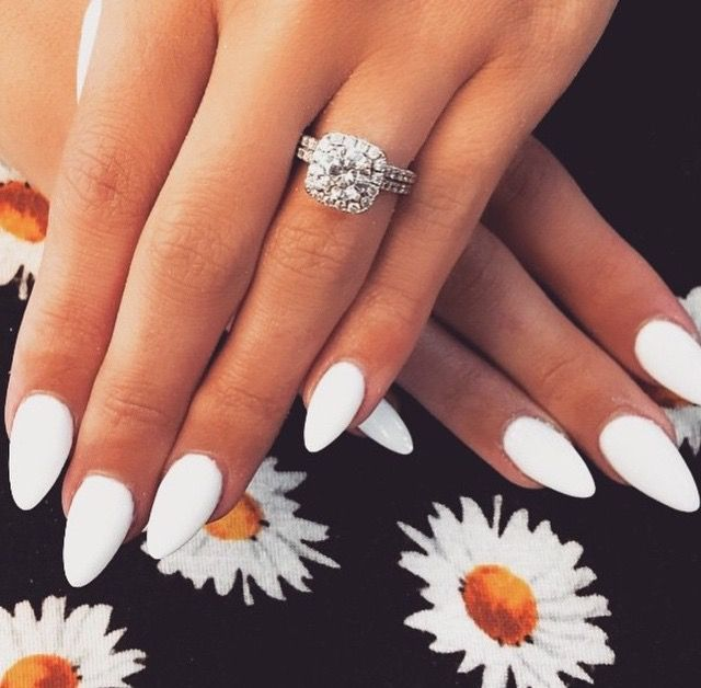 White Almond Acrylic Nails Photo