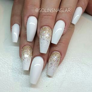 White and gold coffin nails - Expression Nails