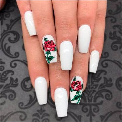 white and red coffin nails photo - 1