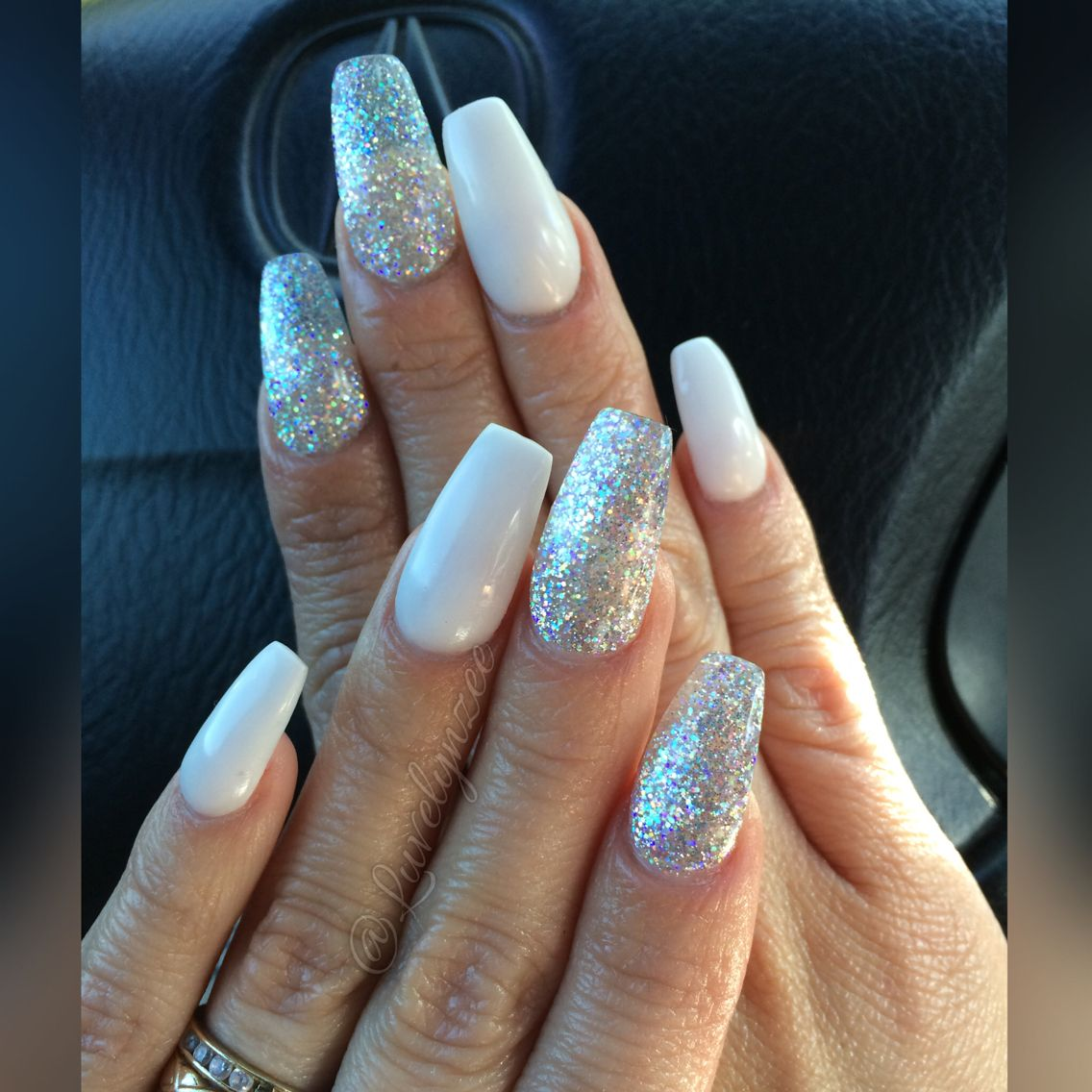 white and sliver coffin acrylic nails photo - 2