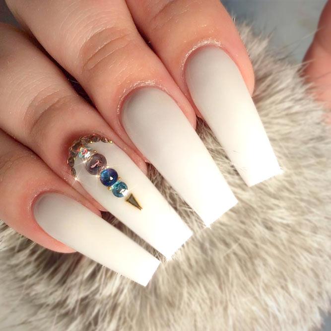 White Coffin Acrylic Nails Photo